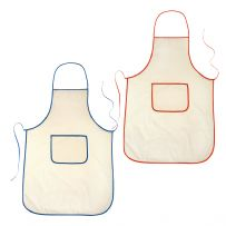 Pack of Ten Cream Aprons with Coloured Trim